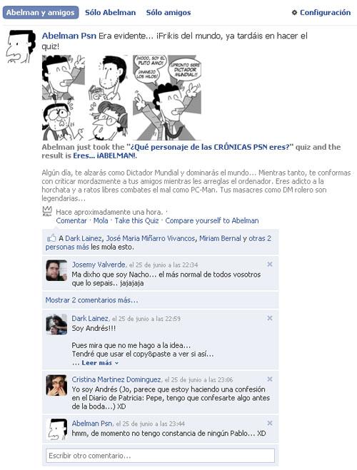 Quiz de las Crónicas PSN en Facebook.
