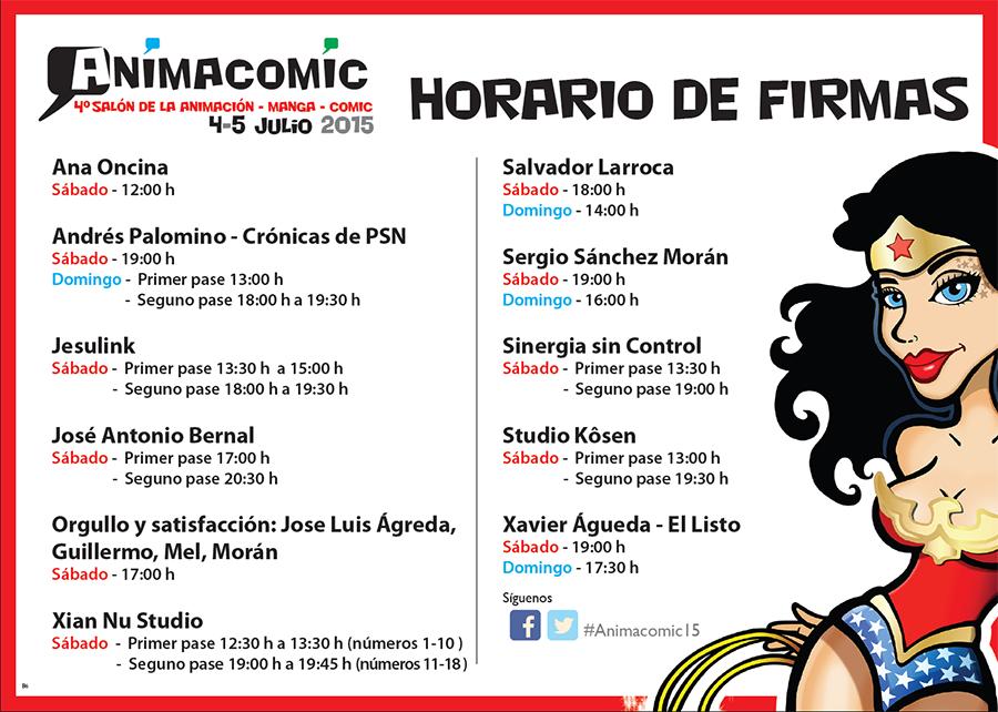 Horarios firmas Animacomic Málaga 2015
